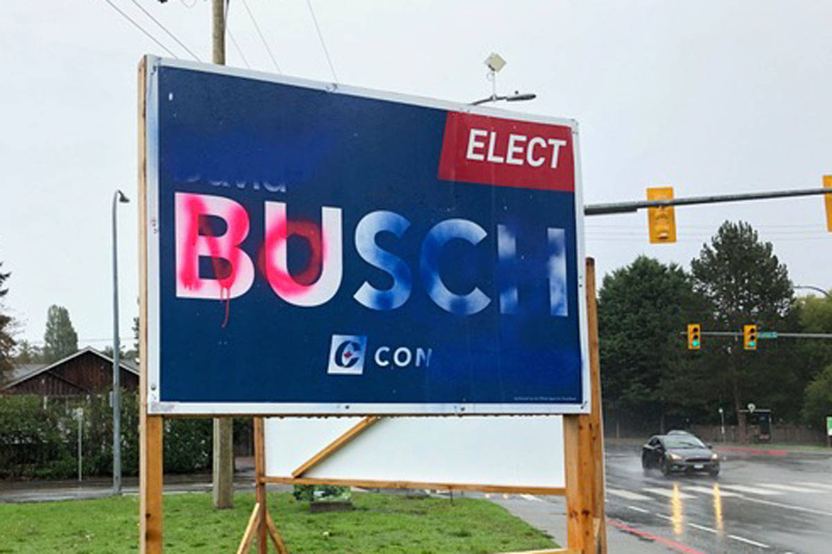 Election signs vandalized in Saanich-Gulf Islands district